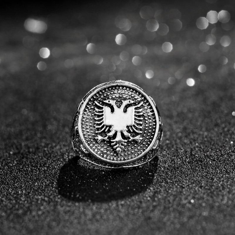 Anillo Vintage estilo Punk de Albania de doble cabeza, anillo de águila de Color plata antigua, anillo de Hip Hop para hombres, joyería, anillos de regalo