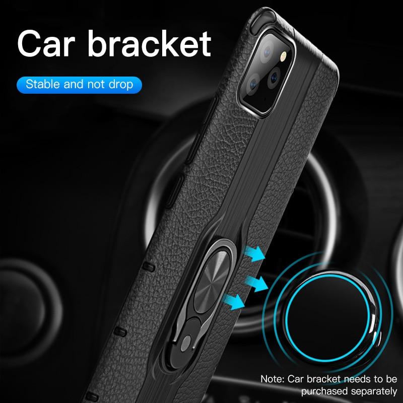 Funda de teléfono con soporte de armadura de anillo de dedo para iPhone 11 Pro Max XR X XS Max 11 8 7 6 6s Plus, funda mate a prueba de golpes con soporte