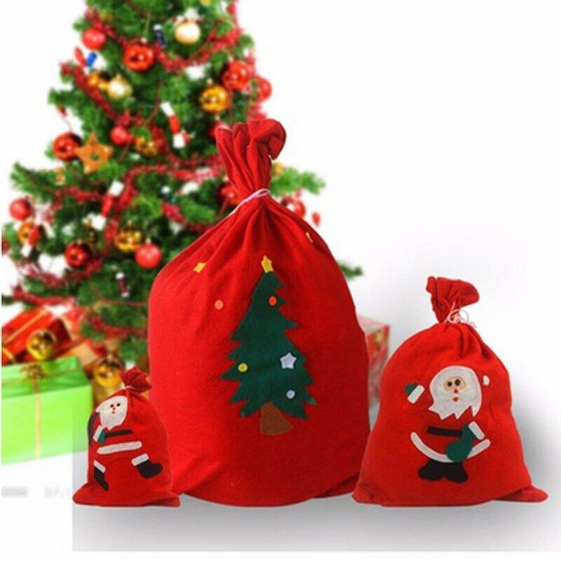 Christmas Santa Sack Gift Presents Bag Candy Bags Children Gift Bags Xmas Christmas Tree Decoration New Year Print Gift Bag