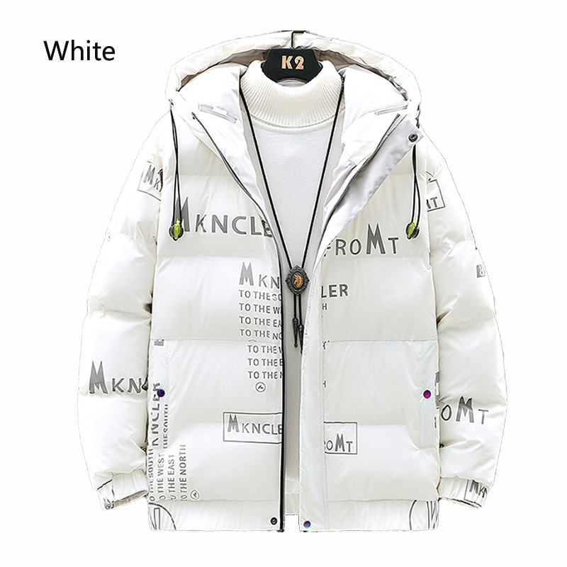 Winter Jacket White Duck Down Hooded Down Jacket Men And Women Trend Thickening Warm Short Shiny Casual Jacket