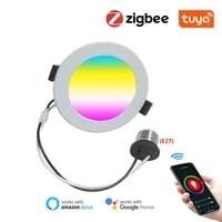 ZigBee     Spot lumineux LED intelligent pour le plafond  eclairage a intensite reglable  luminaire de plafond  ideal pour un salon  avec lapplication Tuya  Alexa  Google Home  Assistant et Smartthings  3 0