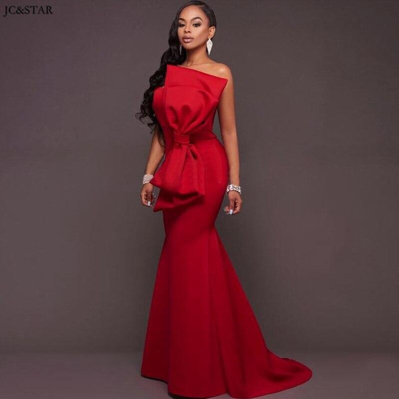 Vestido Rojo para boda nuevo satén sin hombros sexy sirena Africana dama...