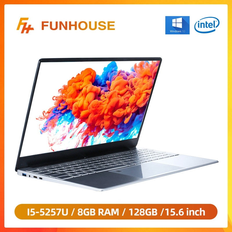 Intel Core I5-5257U 15.6 Inch 8G RAM 128G/256G SSD Metal Laptop Portable Business Office PC Computer
