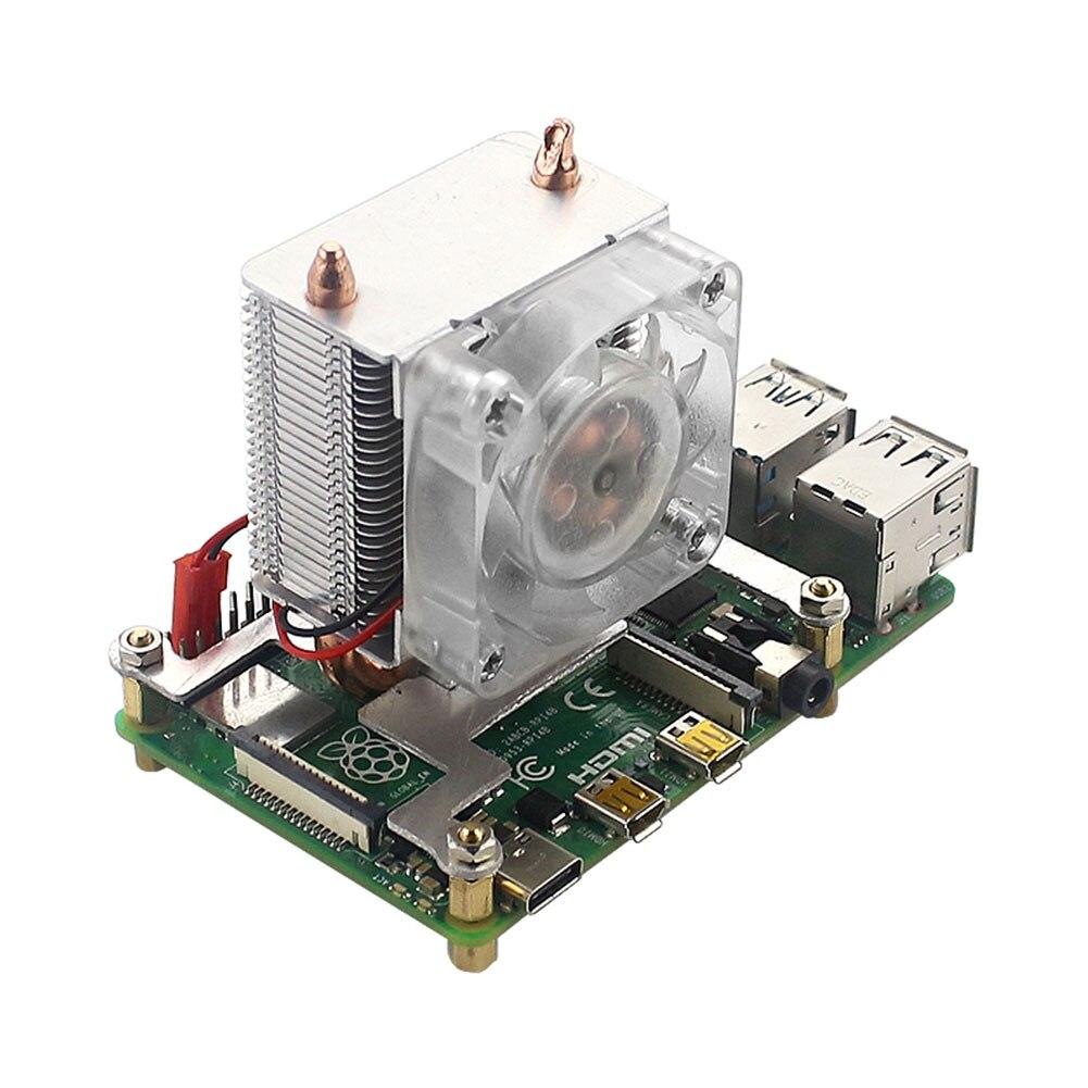 Lámpara LED Torre duradera disipación de calor en capas 7 colores módulo CPU disipador rápido ventilador de refrigeración RGB tubo de cobre para Raspberry Pi4