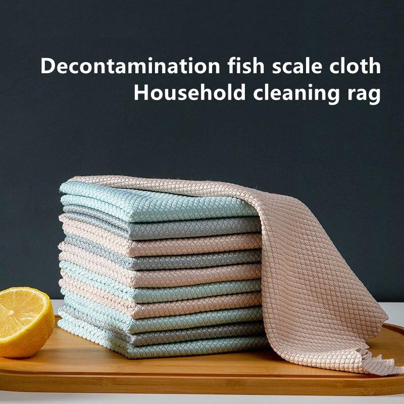 Toalla de microfibra para cocina, trapos de limpieza a escala de pescado,...