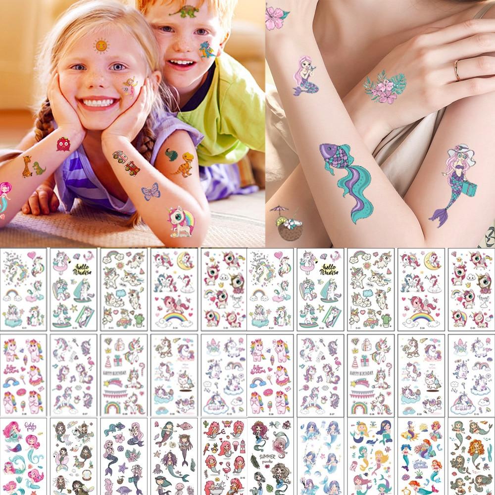 10 fogli/set adesivi per tatuaggi temporanei per bambini unicorno simpatico cartone animato Baby Shower bambini Body Makeup Sticker tatuaggi calcio