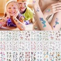 10 Sheets Set Children Cute Cartoon Unicorn Temporary Tattoo Stickers Baby Shower Kids Body Makeup Sticker Tattoos Football
