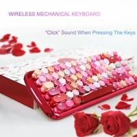 bt wireless mechanical keyboard blue switch rechargeable punk keycap girls 84keys gorgeous backlit gaming office keyboard