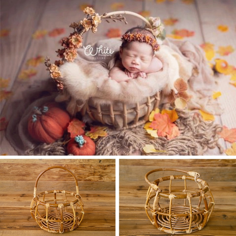 Newborn Photography Props Handmade Woven Round Rattan Basket Baby Girl Boy Photo Shoot Container Studio Fotografie Accessoires
