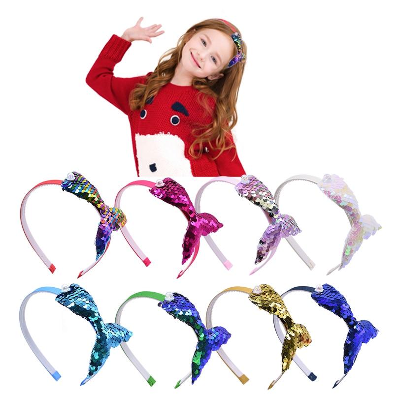 Diadema sirena banda para el pelo de unicornio de colores, diadema de moda hecha a mano para niños, accesorios para el cabello elásticos, diademas para niñas