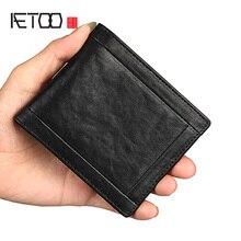 AETOO Leder männer brieftasche, kurze einfache mode brieftasche, jugend mode brieftasche