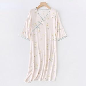 Summer Retro National Style V-neck Viscose Elegant Yellow Lily Printed Buckle Women Night Dress Home Sleepwear Women Clothes