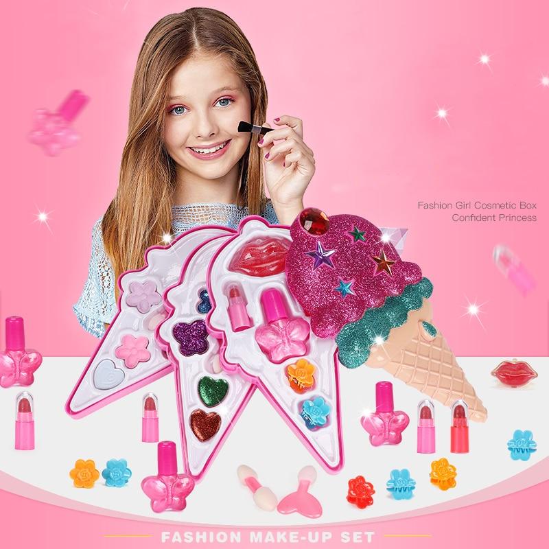 Waschbar Make-Up Werkzeuge für grils Kinder Simulation Lippenstift Lidschatten Nagellack Pretend Spielen Kosmetik Kit Mädchen Machen Up Spielzeug