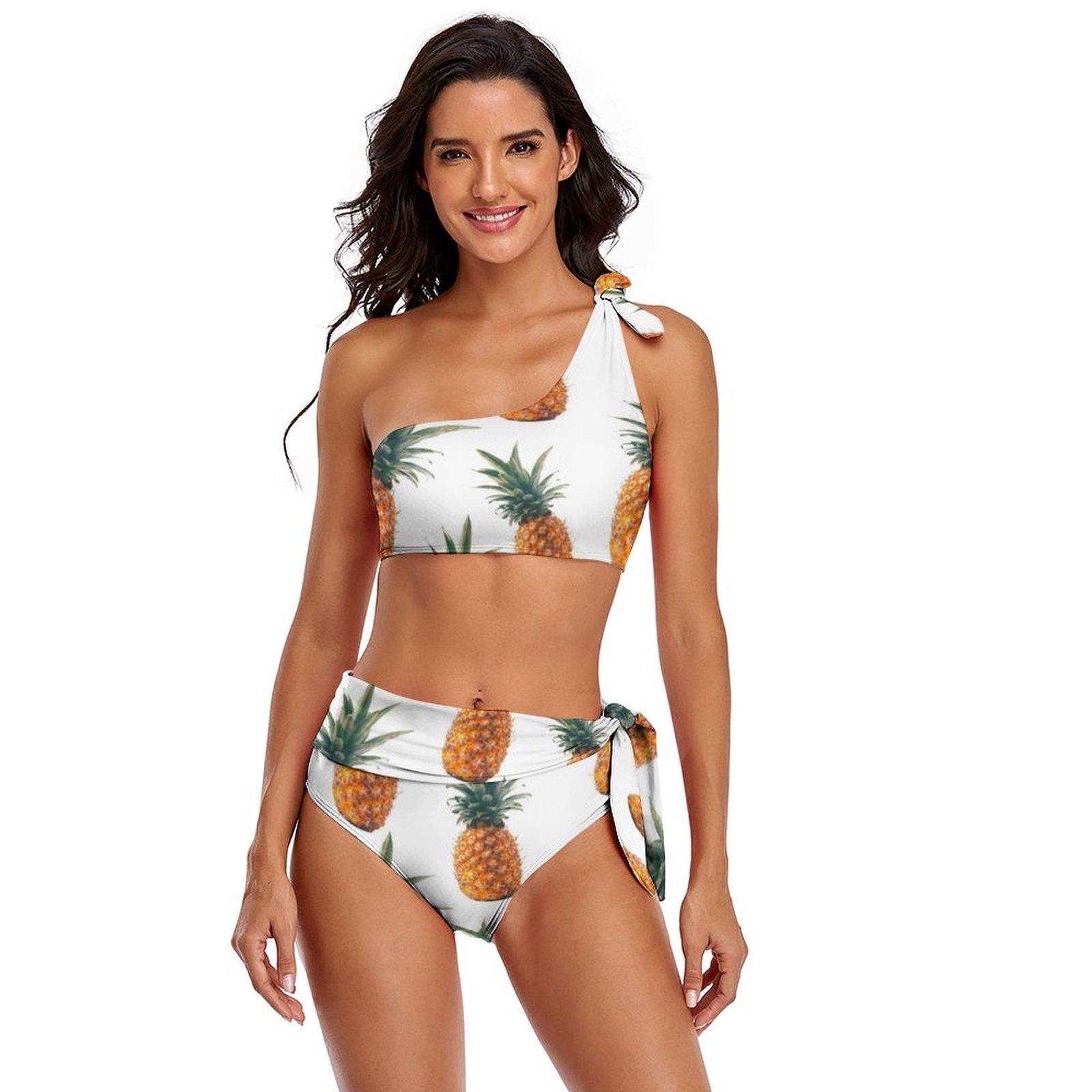 الأناناس بيكيني ملابس السباحة عالية الساق الخيال تصفح ملابس الشباب رخيصة 2 قطعة ثوب السباحة