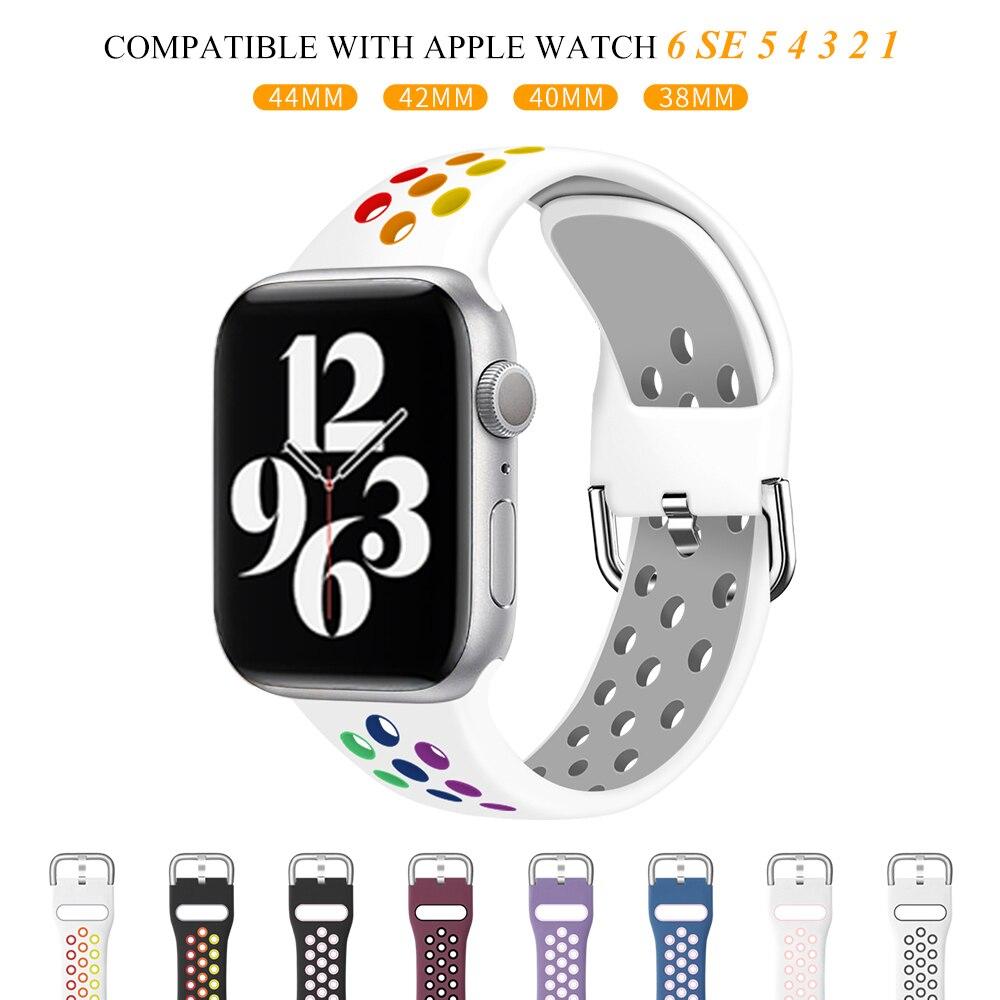 Pulseira para apple pulseiras de relógio 40mm 44mm/42mm/38mm acessórios cinto de silicone pulseira esportiva iwatch série 5 4 3 2 6 se 40 38 42 44mm