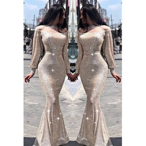 Prom Evening Dresses 2020 Woman's Party Night Celebrity Cocktail Long Mermaid Dresses Plus Size Dubai Arabic Formal Dress