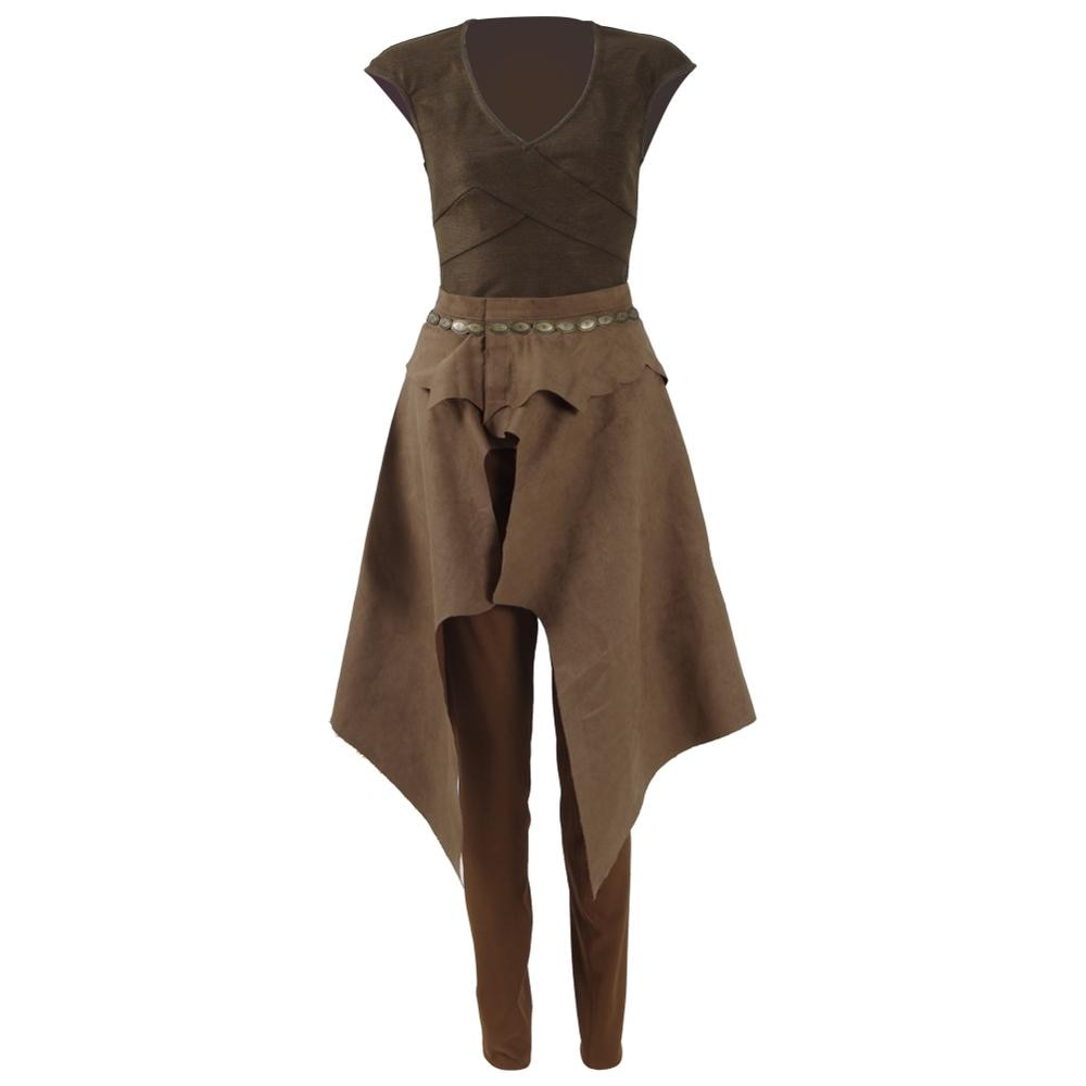 Cossky daenerys targaryen cosplay traje dailywear marrom conjunto completo