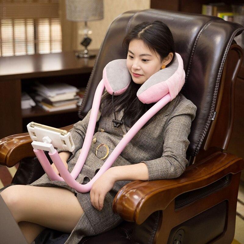 2 في 1 U-شكل رقبة وسادة مع حامل هاتف المحمول قابل للنقل كسول معلق رقبة وسادة حامل ل جهاز لوحي، هاتف خلوي قيلولة وسادة