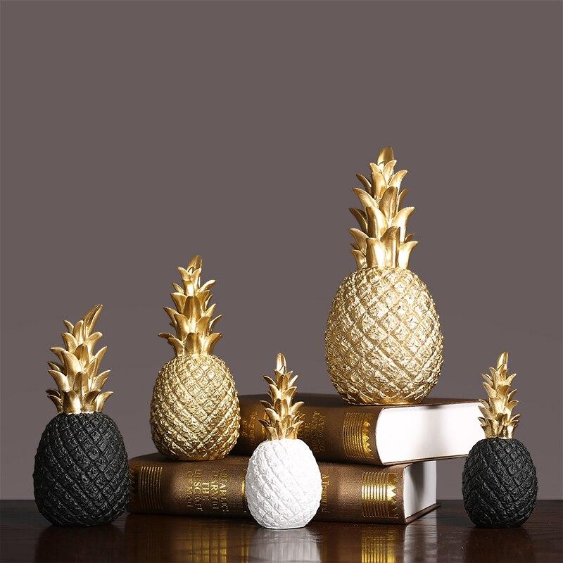 Acessórios de Decoração para Casa Mobiliário de Escritório Decoração Europeia Simples Ouro Abacaxi Ornamentos Restaurante Gabinete Vinho Artesanato