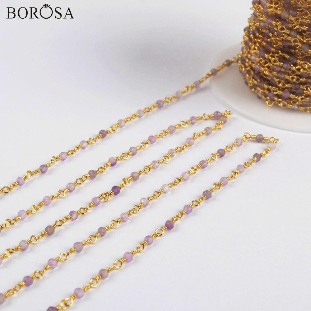 BOROSA-خرز الجمشت الطبيعي ، سلاسل نحاسية ، كوارتز ، 3 أمتار 2 مللي متر ، مجوهرات JT243