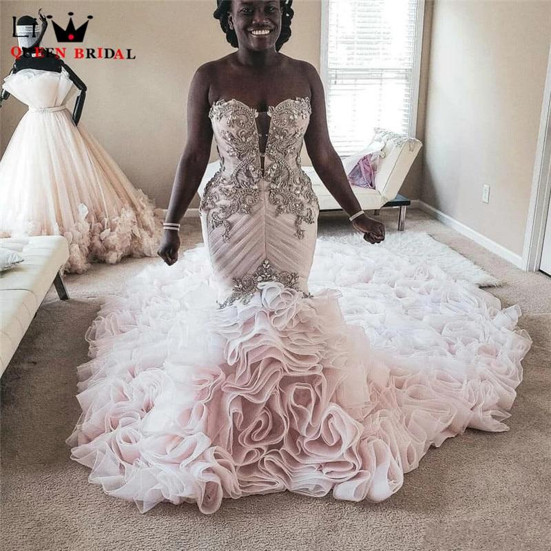 Luxury Mermaid Sweetheart Big Train Crystal Beaded Diamond Sexy Wedding Dress White/Ivory Women Bride Dresses Custom Made DJ35