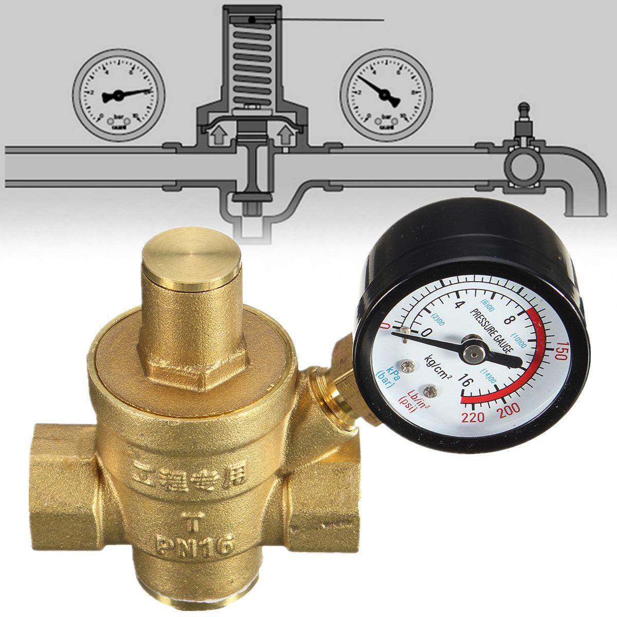 DN15 NPT 1/2'' Brass Water Pressure Regulator Reducer Adjustable With Gauge Meter w/ Gauge Meter for Hydraulic Instability/Water