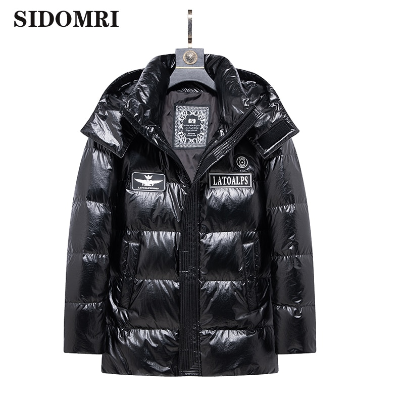 Men's down jacket 90% white duck down coats winter new trend handsome short style thickened shiny color warm jackets