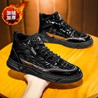 mens winter plus velvet high top casual shoes lightweight and trendy ski sports winter boots youth outdoor snow boots