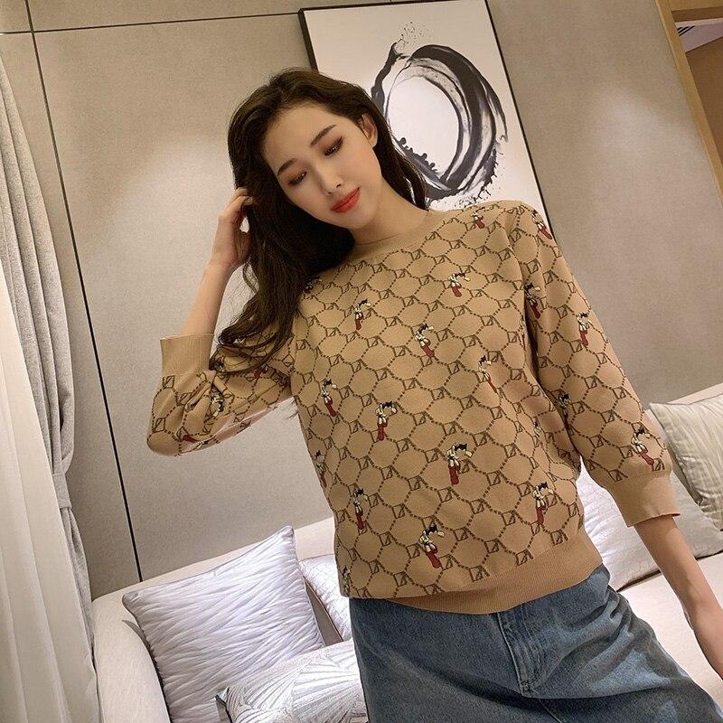 New fashion cartoon print summer 2021 sweet knit loose round neck open back long sleeve all-match blouse women
