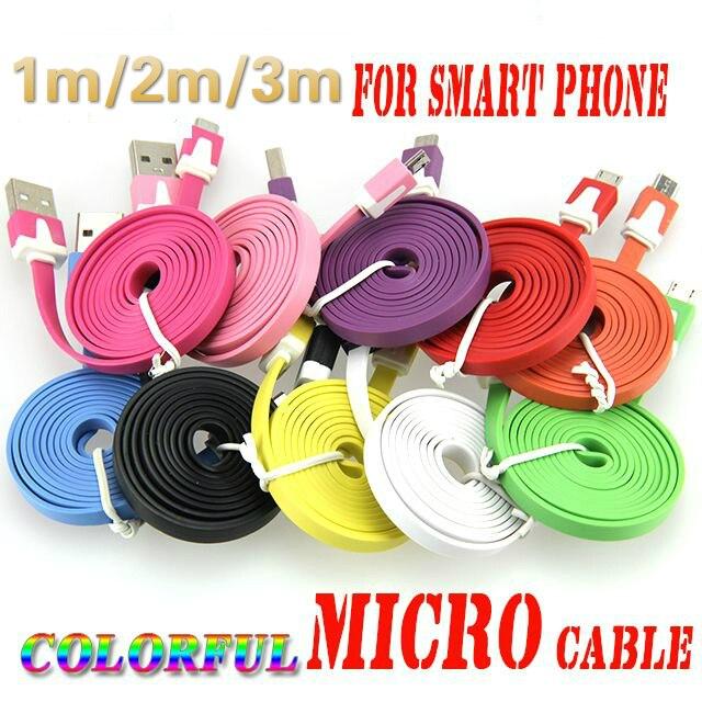 10 шт. 1 м 2 м 3 м микро USB кабель 5pin синхронизации зарядки плоский Лапша мобильный телефон кабели для Android Samsung Huawei Xiaomi HTC LG телефон