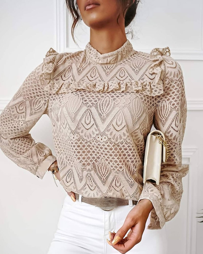 hollow out crochet insert frill top 2020 Spring Autumn Fashion Lace Frill Hem Hollow Out Long Sleeve Blouse Women High Neck OL Chic Solid Elegant Top Shirt