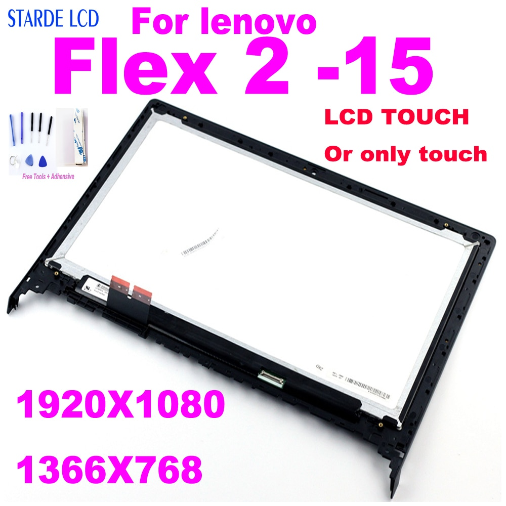 15.6 for lenovo flex 2-15 2 15 LCD Display Touch Screen Digitizer Assembly with Frame Flex2-15 FHD 1920*1080 HD 1366*768