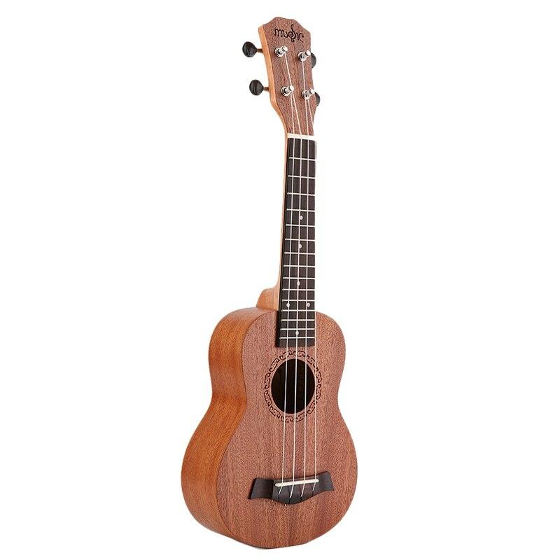Ukelele Soprano para principiantes de 21 pulgadas, ukelele de guitarra con cuello de caoba, clavija de ajuste delicada, 4 cuerdas, ukelele de madera