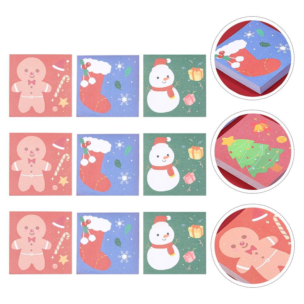 Клейкие бумажные блокноты, блокноты, рождественские ученические блокноты для записей (разные цвета)