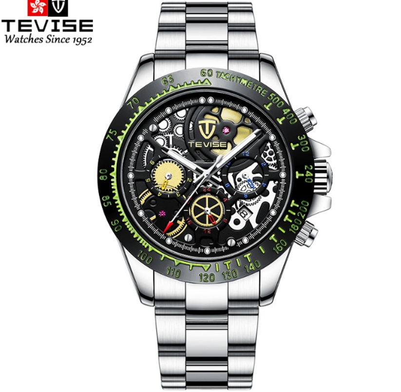 TEVISE Brand Hollow Out Automatic Mechanical Luminous Brilliant Mens Watch Six Hands Transparent Bac