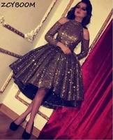 short front long back evening dresses 2021 formal party night vestidos de gala elegant vintage sequined graduation prom gowns