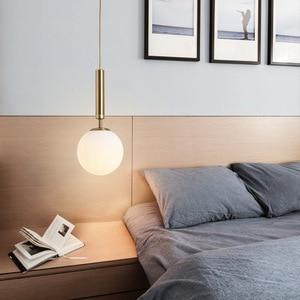 Nordic Long-line Single Head Ceiling Chandelier for Living Room Bedroom Bedside Lamp Kitchen Restaurant Golden Glass Lamp