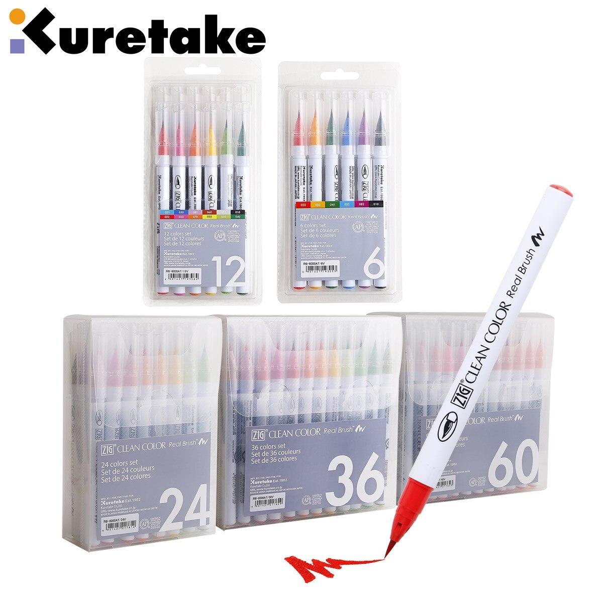 1set Japan Zig Kuretake RB-6000AT Sauber Farbe Echt Pinsel Aquarell Stifte 4/6/12/24/36/48/60/90 Farben Set Pinsel Schriftzug