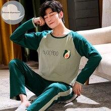 Autumn Winter Men's Cotton Pajamas Letter Striped Sleepwear Cartoon Pajama Sets Casual Sleep&Lounge