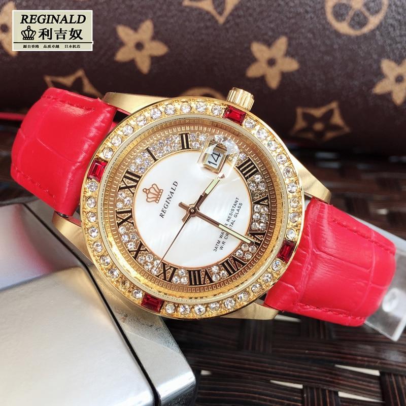 2019 Women's Watch Large Dial Leather Digital Wristwatches Luminous Fashion Quartz Rhinestone Gold Watches Jewelry Luxury Gift