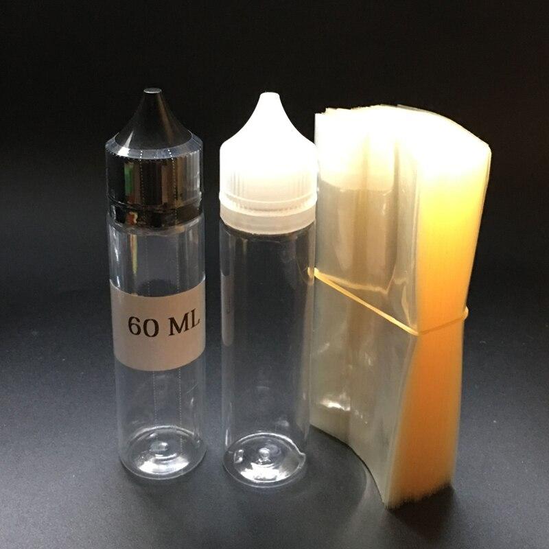 2000 Uds claro de PVC de calor película para 60ml claro plástico forma de bolígrafo botella envoltura retráctil tubo de película vía DHL Fedex
