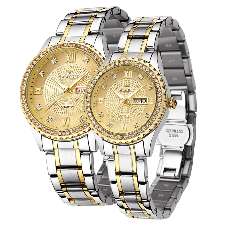 WWOOR Brand Men And Women Couples Stainless Steel Quartz Watch Diamond Luminous Calendar Clock Fashion Love Watches Reloj Hombre enlarge