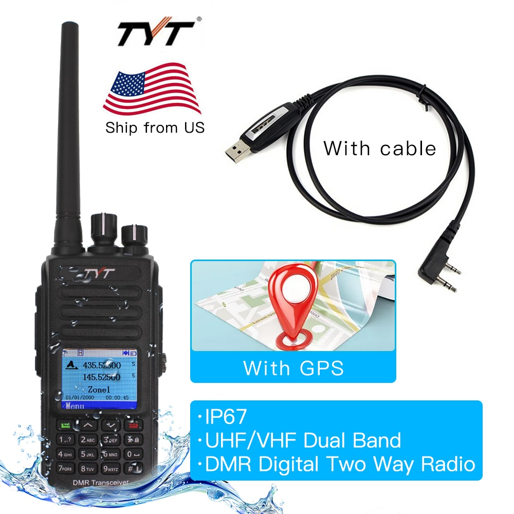 IP67 Water-proof Walkie Talkie TYT MD-UV390 GPS Dual Band Radio Digital DMR Two Way Radios MDUV390 Dual Time Slot Transceiver