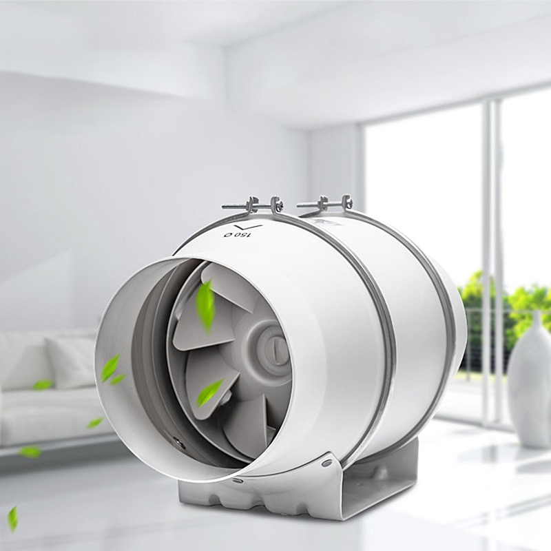 6'' Inline Duct Fan Air Ventilator Exhaust Fan Mixed Flow Inline Fan Air Extractor for Home Bathroom Ventilation Vent Household 6 150mm high efficiency inline duct fan exhaust fan mixed flow hydroponic air blower for home bathroom greenhouse ventilation