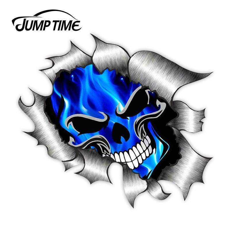 Jump Time Ripped Torn Metal 3D Design With Skull & Electric Blue Flames External Vinyl Car Sticker  for Windows Bumper