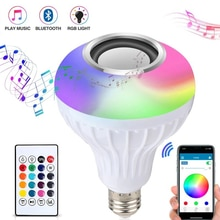 E27 Smart RGB RGBW Wireless Bluetooth Speaker Bulb 12W LED Lamp Light Music Player Dimmable Audio 24 Keys Remote Controller