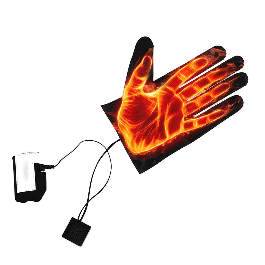 Оптовая продажа, перчатки с пятью пальцами, USB электрические нагревательные колодки, литиевая батарея, источник питания, трехскоростной термостат, переключатель, нагревательный лист Перчатки для велоспорта      АлиЭкспресс