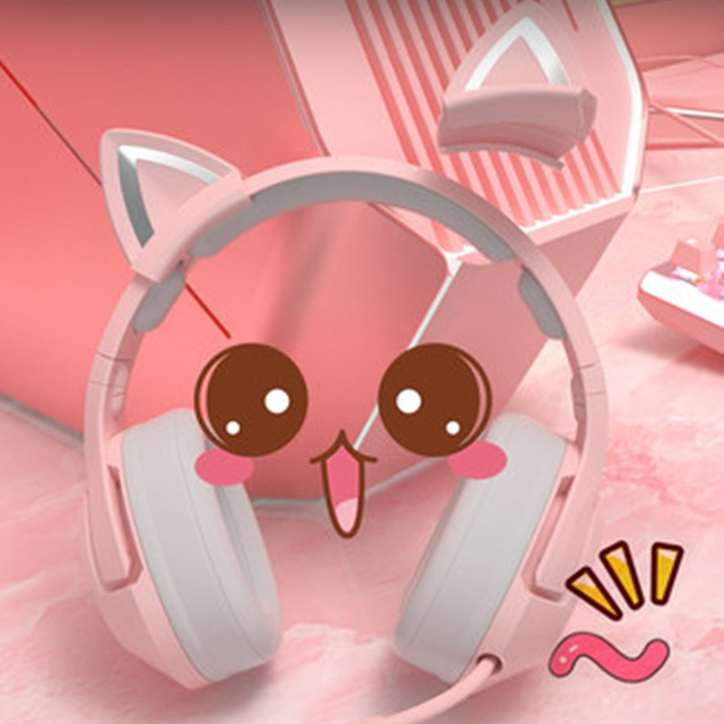 Computer Headset Tablet Headphone Pink Cat Ear Cute Girl Gaming Headset with Mic Noise Reduction HiFi RGB Laptop Wired Headphone enlarge
