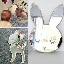 Décor dessin animé pour enfants   Miroir, salle de bains, chambre de bébé, lapin étoile, cadre à miroir acrylique, décorations murales créatives Art maison #15