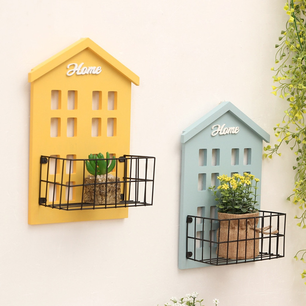 Wall Mounted Storage Rack Sundries Shelf Hooks Wood Organiser House Nordic Style Living Room Gift Hanger Organizer Display Stand